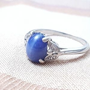 Diamond and star sapphire 14kt white gold ring
